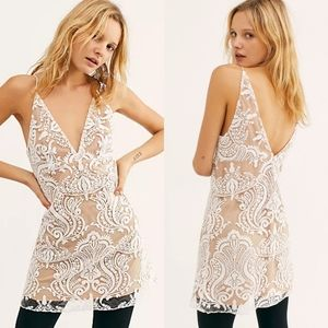 Free People Night Shimmers white sequin dress NWT